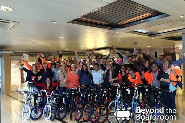 Hunter Douglas team with their bikes